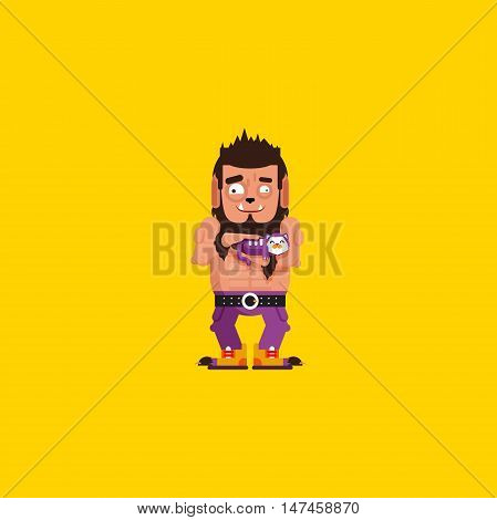 Stock vector illustration a werewolf with a kitten character for halloween, wolfman in a flat style