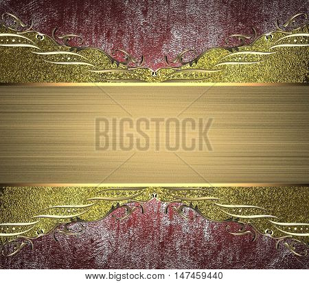 Golden Ornaments And Invitation On Grunge Texture. Template For Design. Copy Space For Ad Brochure O
