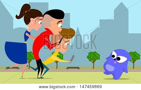 vector cartoon illustration of a teen group playing video game.