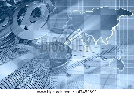 Financial background in blues with money calculator map buildings and pen.