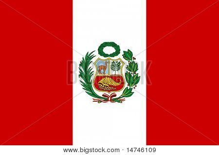 Peruvian flag with National Emblem
