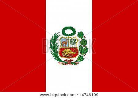 Peruvian flag with National Emblem