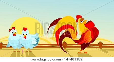 poultry yard. farm. two hens and a rooster. Vector illustration