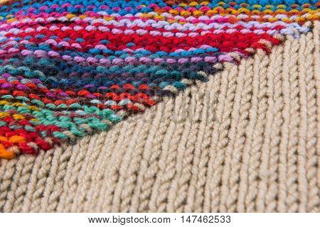 striped colorful wool texture handmade patten closeup macro blue red green yellow pink purple orange beige black