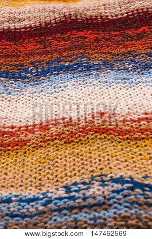 striped colorful wool texture handmade patten closeup macro blue red yellow pink  orange beige white