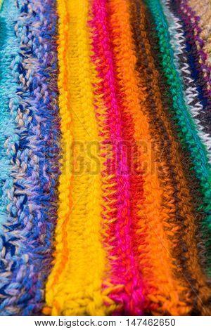 striped colorful wool texture handmade patten closeup macro blue red green yellow pink purple orange beige white black brown