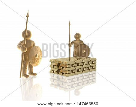 Brown armed mans with gold on white background, 3D illustration.