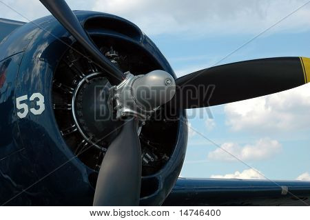 Propeller and engine of Grumman Avenger Bomber