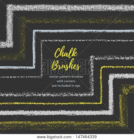 Hand drawn chalk vector brushes with inner and outer corner. Chalk brush divider border. Isolated decorative chalk frame. Vector chalk design element. Isolated scribble line frame. Chalk background