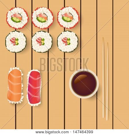 Sushi icon set.Fresh salmon japanese sushi roll with soy sause ang ginger on wooden table. Vector image can be used for restaurant and cafe menu design, food posters, print cards and other crafts.