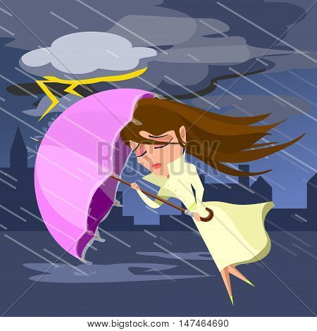 girl hiding from the rain under an umbrella. Vector illustration.