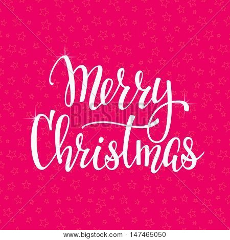 Christmas New Year simple lettering. Calligraphy postcard or poster graphic design lettering element. Hand written postcard design. Photo overlay Winter Holidays sign detail. Merry Christmas