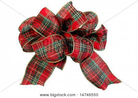 Christmas red and green bow (With clipping Path)