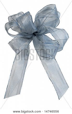 Blue Ribbon Bow over white background (With Clipping Path)