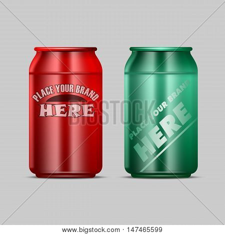 Vector red and green aluminium beverage drink can mockup ready for your design