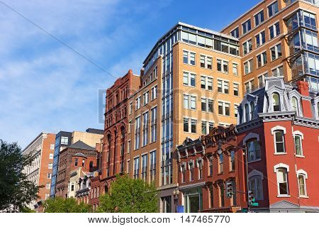Intricate buildings architecture in Washington DC USA. Historic and modern building blend together in US capital.