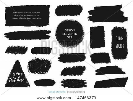 Hand drawn charcoal chalk texture set. Vector charcoal design element. Coal stain for banner. Charcoal background. Ink brush stroke. Charcoal stroke background. Scribble coal smudge Dirty brush stroke