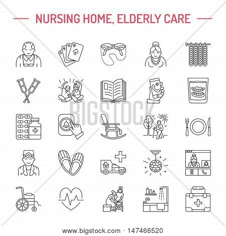 Modern vector line icon of senior and elderly care. Nursing home elements - old people wheelchair leisure hospital call button leisure. Linear pictograms with editable stroke for sites brochures.