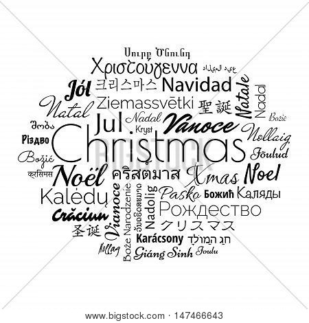 Christmas in different foreign languages of the whole world. Black vector illustration for winter holidays.