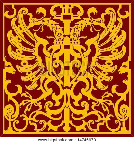 XVII Century Two headed eagle with wings in an isometric pattern - VECTOR
