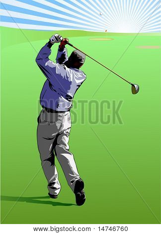 Golfer hitting a golf ball straight to the green - VECTOR