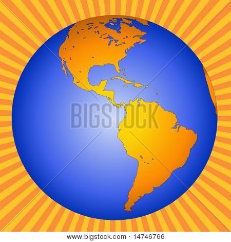 Planet Earth showing North, Central, and South America - VECTOR