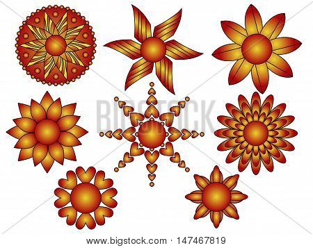 Red and orange floral ornament collection isolated over white background
