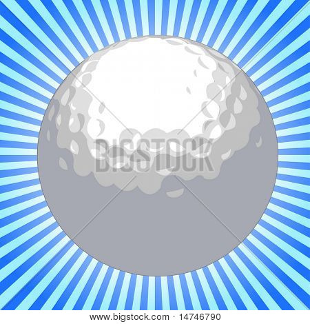 Golf ball over sunburst background - VECTOR