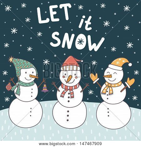 Let It Snow christmas card with cute snowmen and falling snow. Vector illustration