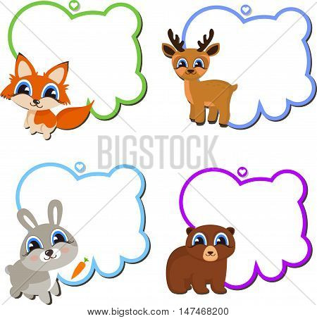 Frames with Cartoon Animals. Blank frames with cartoon animals holding up the frames. Vector cartoon animals: fox, bear, deer, hare