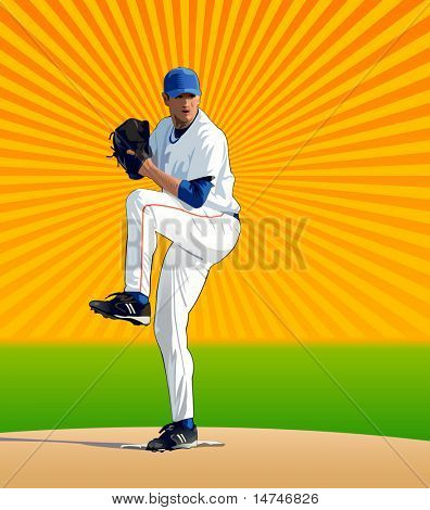 Baseball pitcher about to throw the baseball to home plate - VECTOR
