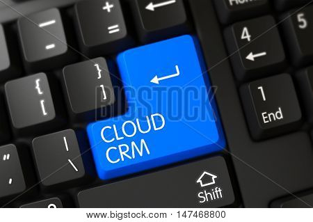 Cloud CRM Close Up of Modern Laptop Keyboard on a Modern Laptop. 3D Illustration.