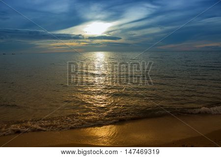 Sunrise Sea water beach and sky. motion of the sea in the morning. Cold Warm Filter look Colorful.