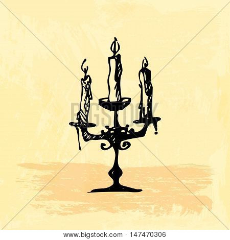 Hand drawn doodle candelabrum with three candles. Black illustration, yellow watercolor background
