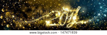 New Year fireworks with bokeh effects 2017. Vector illustration.
