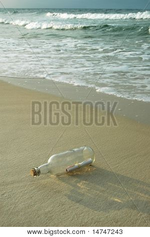 Bottle on shore