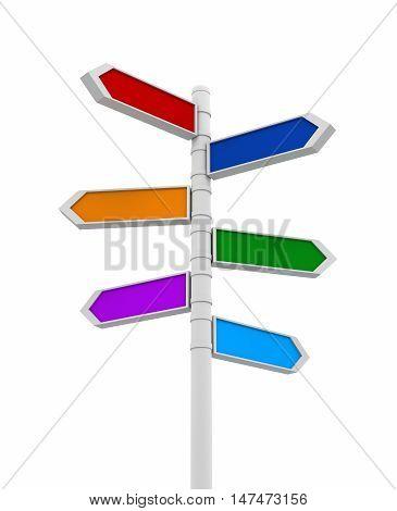 coloured signpost 3d illustration on white background