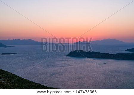 Wonderful sunset on the islands scenary in Turkey