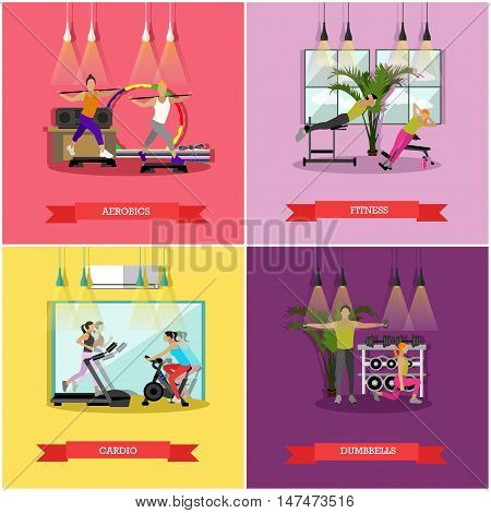 Vector set of workouts for men and women in the gym or fitness studio. Cardio trainings, aerobics, exercises with dumbbells and fitness, sports equipment and training machines. Flat design