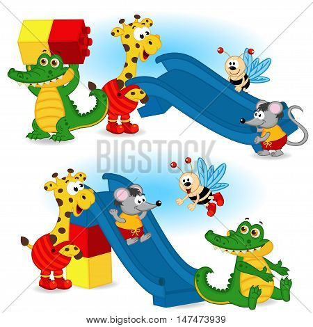 animal are building slide from plastic block - vector illustration, eps