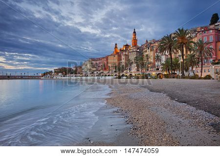 Menton. Image of Menton, French Riviera during twilight blue hour.