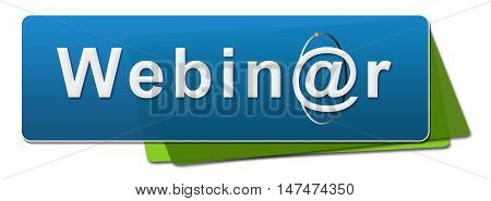 Webinar text with symbol written over blue green background.