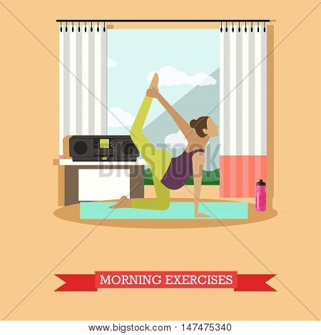 Pregnant girl doing morning exercises to the music. Asana on the yoga Mat, sports water bottle, tape recorder and an open window nearby. Vector illustration in flat design