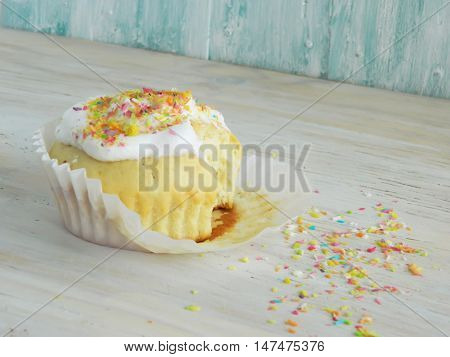 Sweet Homemade Cupcake With Coconut Shavings