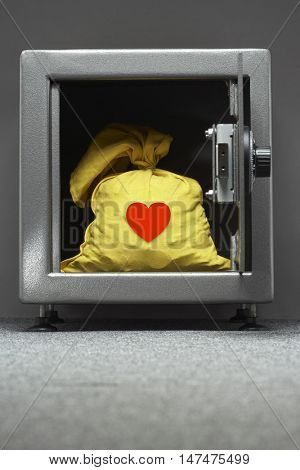 Yellow sack in safe