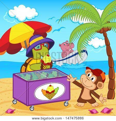 turtle sells ice cream on beach - vector illustration, eps
