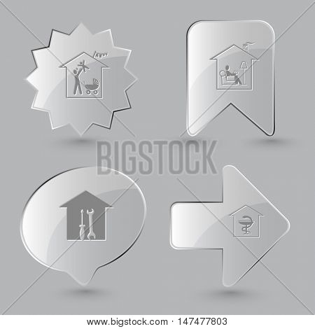 4 images: family home, home reading, workshop, pharmacy. Home set. Glass buttons on gray background. Vector icons.