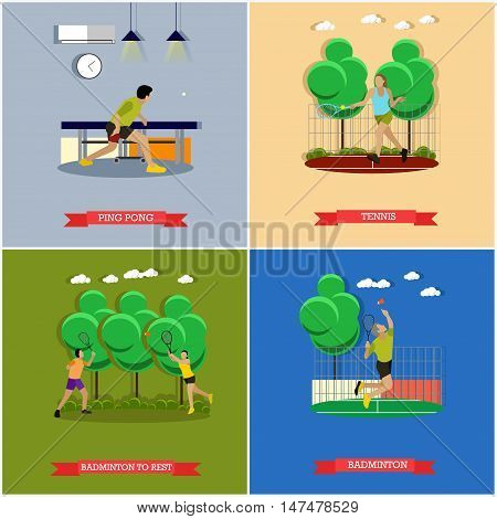 Vector set of tennis, ping pong and badminton games, players and equipment. Professionals and Amateurs. Active lifestyle. Flat design