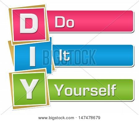 Diy - Do It Yourself text alphabets written over colorful background.