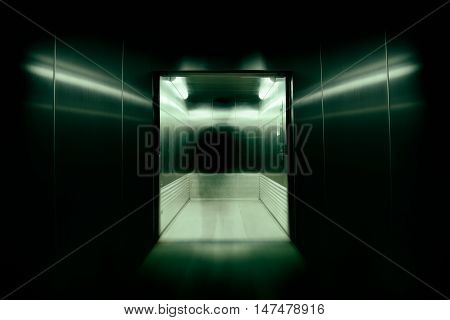 He was the soul or possess immortal souls in office building elevator doors. used long speed shutter blur and zoom effects.